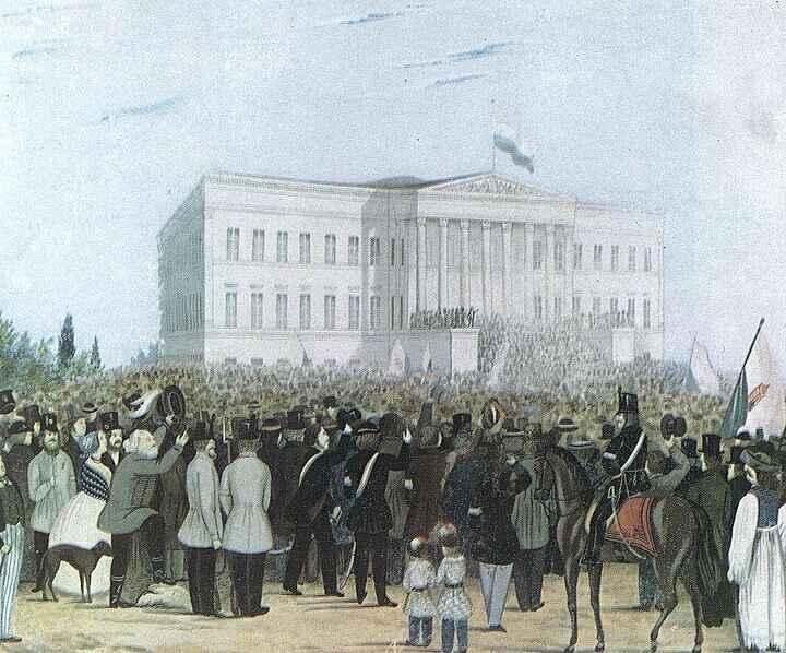 Gy�l�s a Nemzeti M�zeum el�tt - kattintson a bez�r�shoz